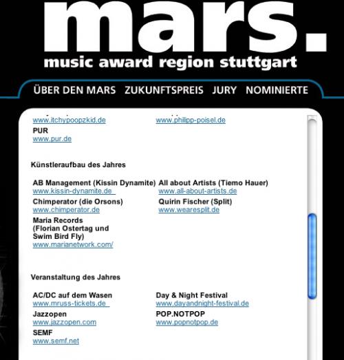 Music Award Region Stuttgart – <br>die Nominierten