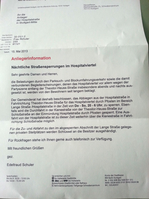 No more Blockumfahrungsverkehr