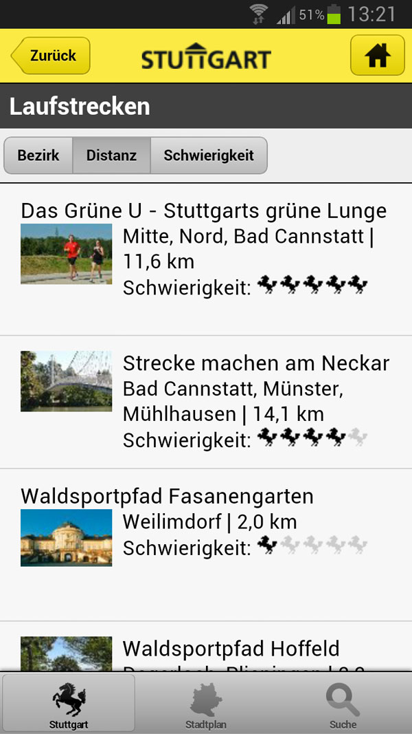 Stuttgarter Laufstrecken fürs Smartphone
