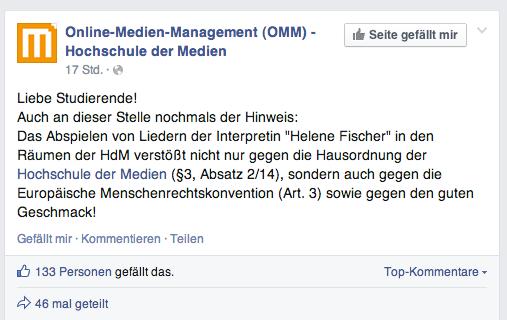 No Helene Fischer in den Räumen der HdM