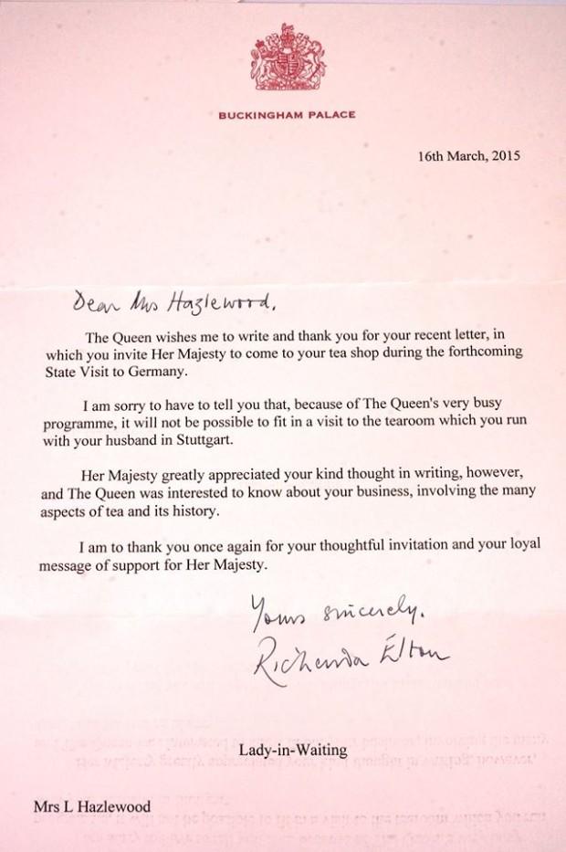Brief vom Buckingham Palace