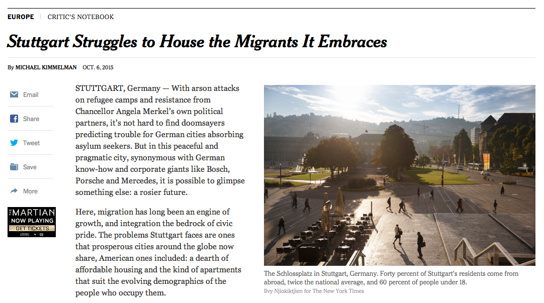 "The New York Times über Stuttgart: ""Migrants are needed, even welcome."""