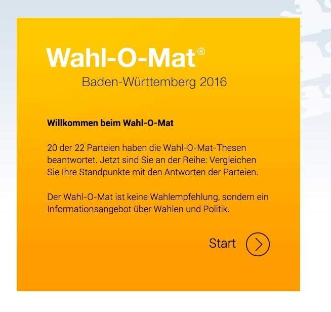 Wahl-O-Mat Landtagswahl 2016
