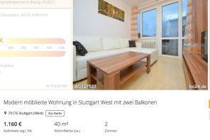 Modern möblierte Wohnung in Stuttgart West mit zwei Balkonen: 1.160 Euro kalt